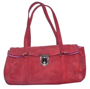 Prada 1960's Mod Look Buttery Soft Suede Leather Chrome Hardware Satchel in Red