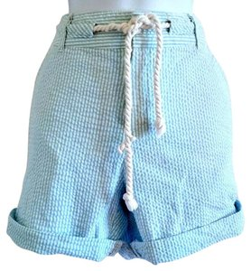 Coral Bay Nautical Sailor Seersucker Striped Pinstripe Cuffed Shorts Turquoise