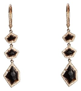 Ellie Jay Jewels 14K Rose Gold Brown Sapphire and Diamond Drop Earrings