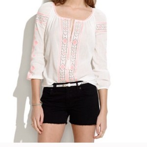 Madewell Embroidered Print Top White and Pink