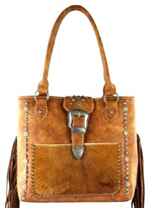 Montana West Hair-on Leather Trinity Ranch Satchel in Brown