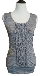 Maurices Scoop Neck Ruching Ruffle Sleeveless Top space dye gray or silver sconce