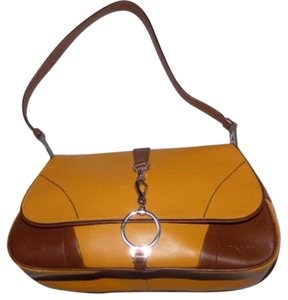 Prada Mint Vintage Bold Chrome Accents Great For Everyday Super Soft Satchel in yellow and brown leather