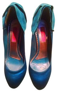 Betsey Johnson Retro Pinup Satin Stiletto Blue Pumps