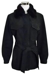 Andrew Marc Belted Micro Fiber Size Small Faux Fur Collar Black Jacket