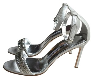 Manolo Blahnik Leather Embellished Silver / Metallic Formal