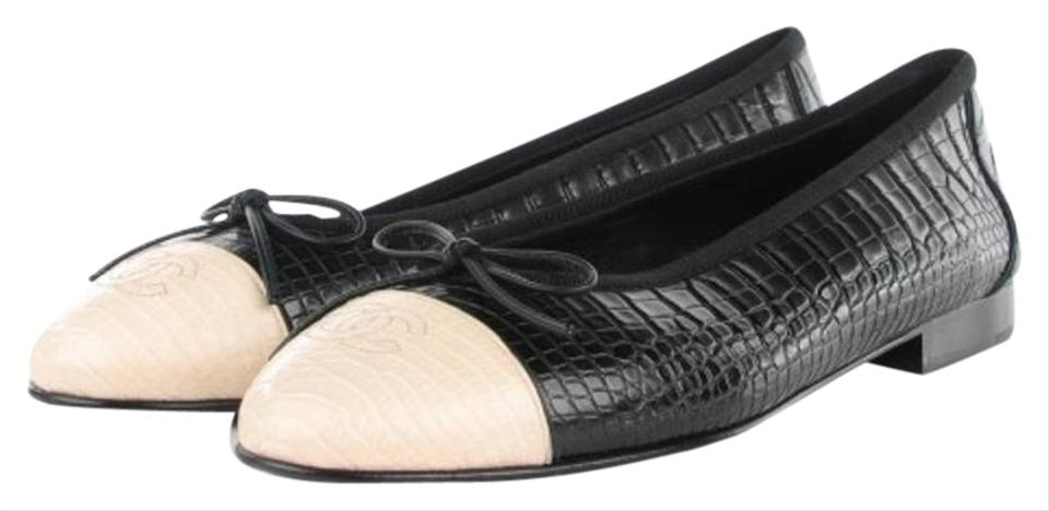ca521aa8b205 Chanel Black and White Limited Edition   Crocodile Alligator Ballet 39.5  Flats