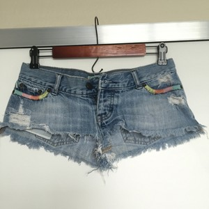 Hollister Cheeky Summer Cut Off Shorts Denim