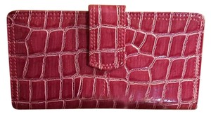 Rosetti Fuchsia Reptile Print Faux Leather Checkbook & Credit Card Wallet