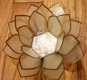 White Gold Lotus Flower Capiz Shell Votive/Candle