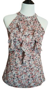 Maurices Sleeveless Ruffle Fitted Tie Neck High Neck floral, light gray blue Halter Top