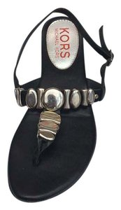 Michael Kors black with silver hardware Sandals