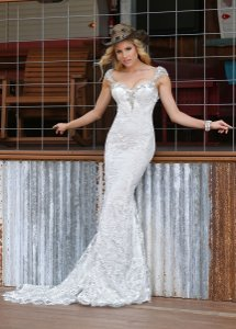 DaVinci Bridal White Lace 50307 Formal Wedding Dress Size 14 (L)