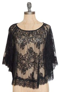 Urban Outfitters Flutter Sheer Top BLACK