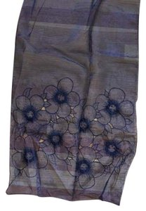 Jones New York Black Sheer Jones New York Embroidered Flowered Shawl