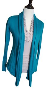 Express Ribbed Sleeve Waterfall Front Open Front Drape Cardigan