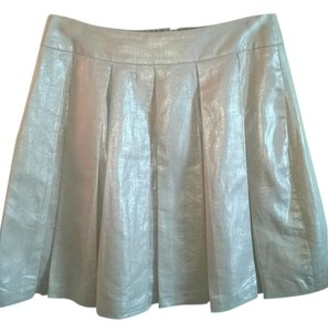 Banana Republic Pleated Shimmer Silverescent Mini Skirt Taupe