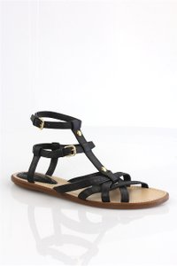 Louis Vuitton Gold Hardware Lv Cage Gladiator Ankle Strap Black Sandals