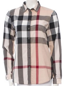 Burberry Nova Check Plaid Monogram Button Down Shirt Beige, Gold, Black