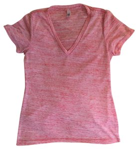 Bella V-neck Heather T Shirt Pink
