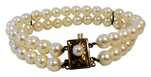 Natural Japanese Double Strand Pearl Bracelet w/Silver