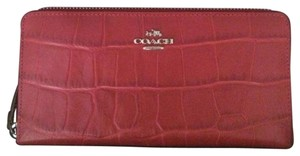 Coach Coach Red Crocodile Embossed Zip Around Wallet