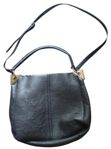 Topshop Crossbody Leather Gold Satchel in Black
