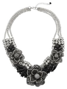 White House | Black Market Jet/Crystal Flower Statement Necklace