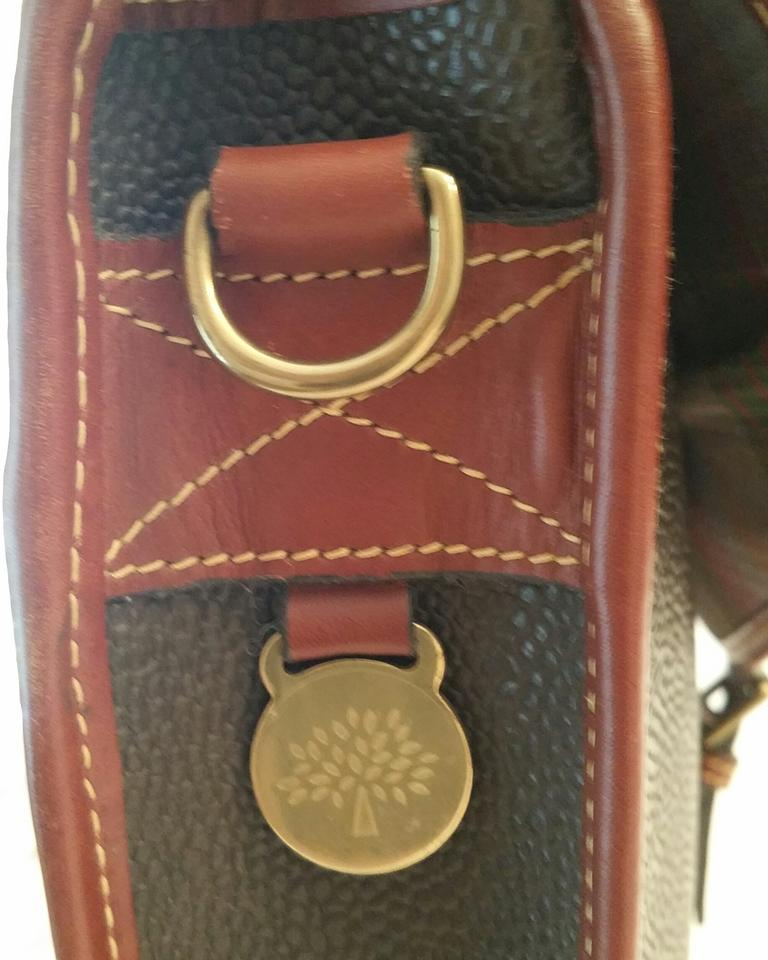 Mulberry Leather Scotchgrain Gold Hardware Studded Brown Messenger Bag 123456