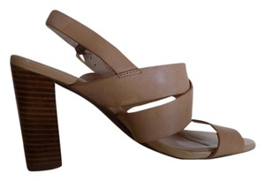 Franco Sarto Neutral Open Toe Leather Tan Sandals