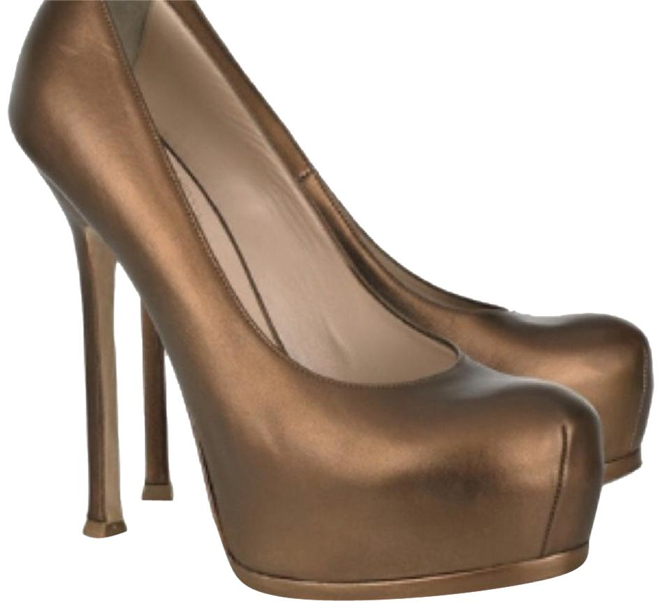 a6725bdb1ca Saint Laurent Ysl Pumps Metallic Metallic Gold Bronze Platforms Image 0 ...