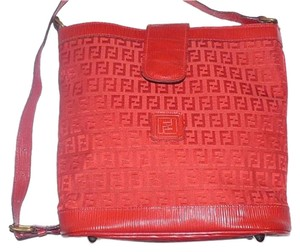 Fendi Early Mint Condition Canvas/Leather Small F Logo Print Bucket/Shoulder Satchel in Red