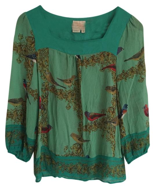Anthropologie Silk Top Green