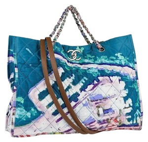 Chanel Graffiti Tote Rare Turquoise Beach Bag