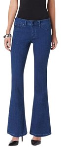 Stretchy Pull On Flare Leg Jeans-Dark Rinse