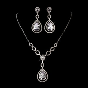Bella Tiara Silver Stunning Necklace Jewelry Set