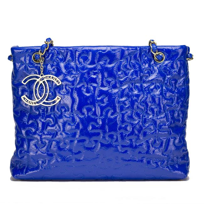Item - Timeless Puzzle Blue Patent Leather Tote
