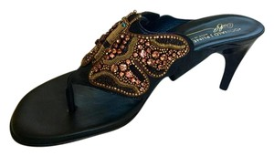Donald J. Pliner Beaded Metallic Black Sandals