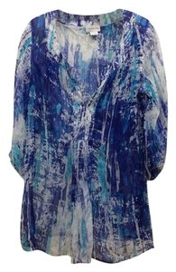 Soft Surroundings Beaded Silk Top blue multi