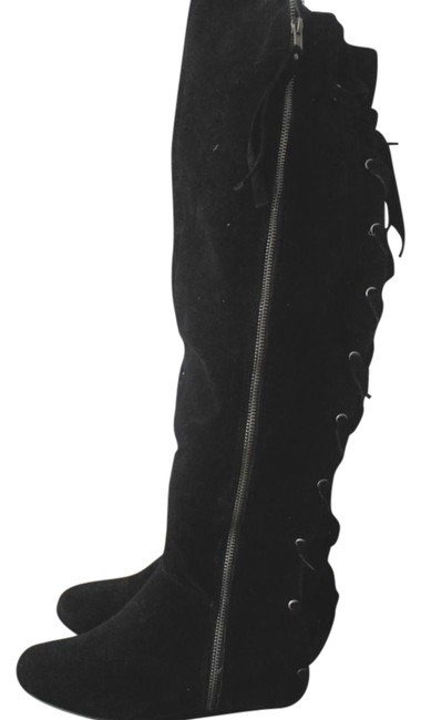 Item - Black Thigh High Womens 6.5m Suede Lace-up Zip Boots/Booties Size US 6.5 Regular (M, B)