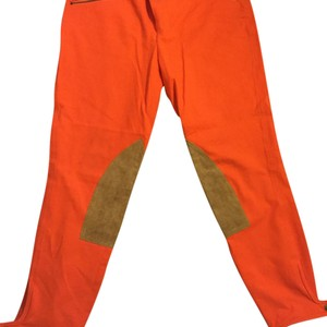 Ralph Lauren Blue Label Straight Pants Orange with tan suede