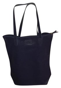 Joy Mangano Leather Tote in Navy Blue