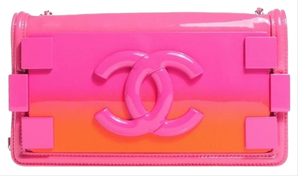 2e8ce4e03e07 Chanel Wallet on Chain Boy Plexiglass Brick Flap Woc Pink and Orange ...