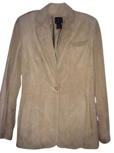 INC International Concepts Vintage Leather Single Button Light beige Blazer