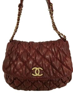 Chanel Quilted Rare Red Leather Shoulder Bag