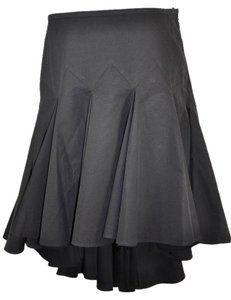 Dolce&Gabbana Ruffled Cotton High Low Skirt Black