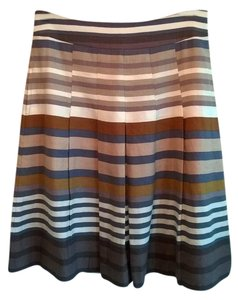Banana Republic Linen Pockets Pleated Mini Skirt Brown/Taupe Stripe