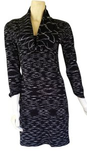 Gianni Bini short dress Black Sweater Draped Neckline Knit Cotton Blend on Tradesy