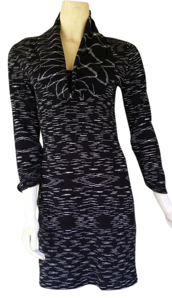 32f75c32965 Gianni Bini Black White Knit Sweater Small S Cotton Blend Short Casual Dress