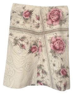 Marni Rose Retro Flower Print Skirt Natural with pink roses.